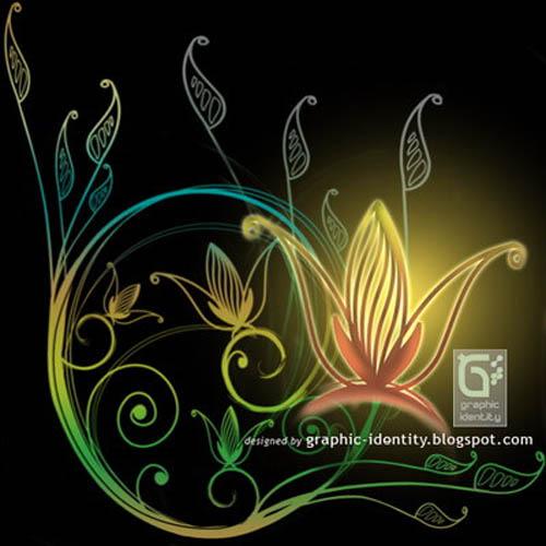 手绘植物花纹装饰PS笔刷