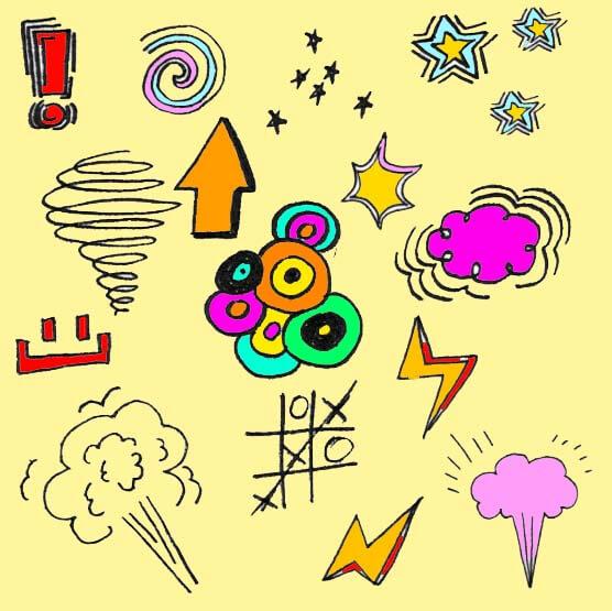 卡哇伊涂鸦童趣元素PS笔刷