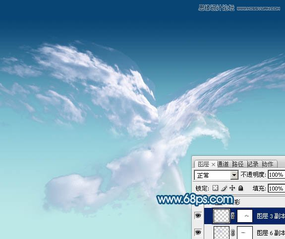 Photoshop設計由雲朵雲彩組成的創意飛鷹