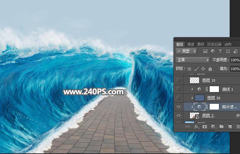 Photoshop創意合成行走在海洋底部的騎士