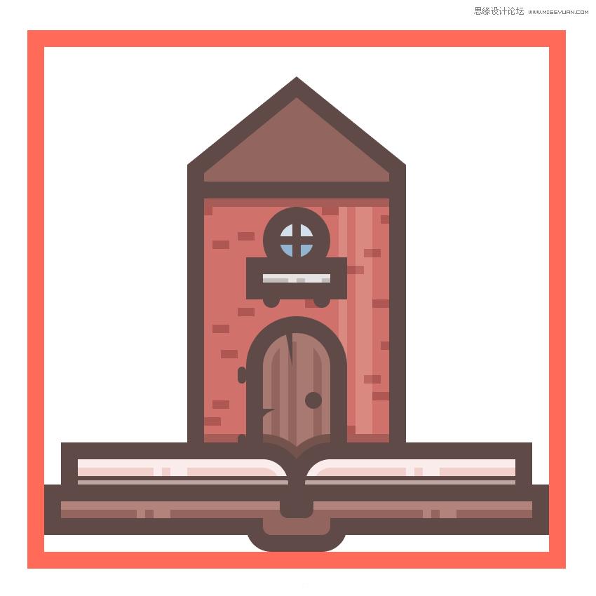 illustrator绘制扁平化风格的城堡图标(3)