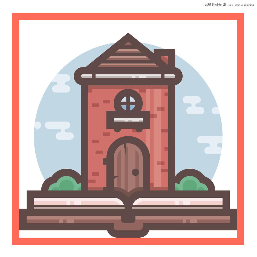 illustrator绘制扁平化风格的城堡图标(4)