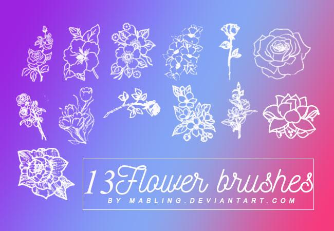 13款线描花朵装饰PS笔刷