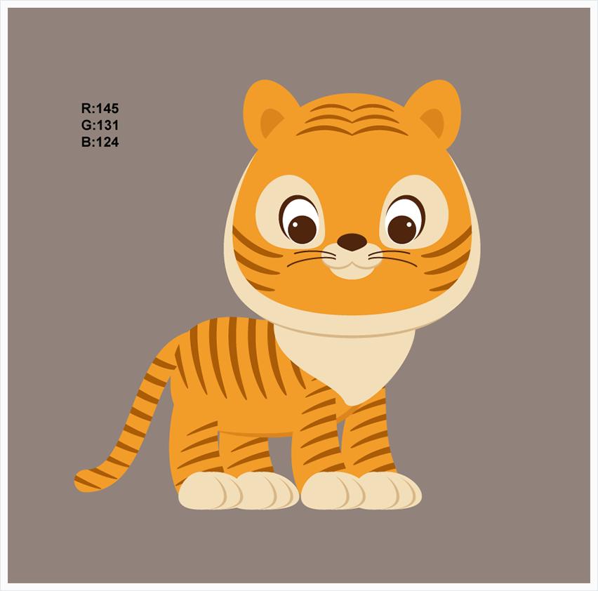illustrator绘制卡通可爱的小老虎插图教程