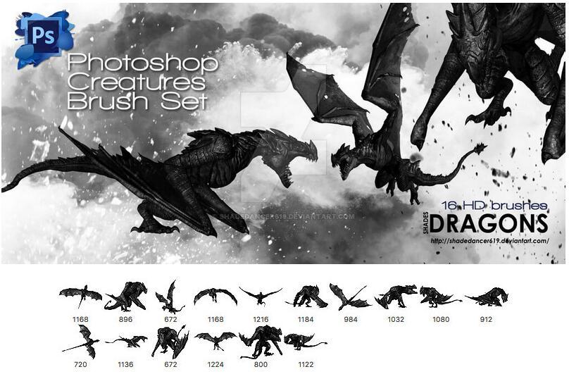 西式恐龙等动物PS笔刷