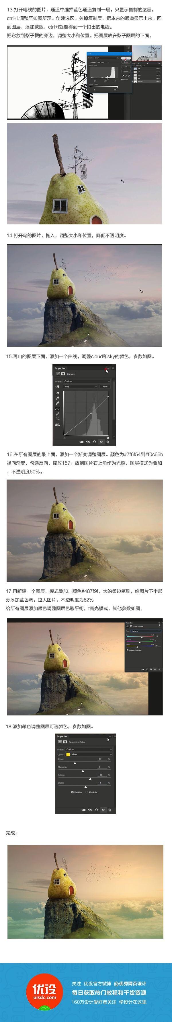 Photoshop創意合成建立在懸崖上的鴨梨房屋