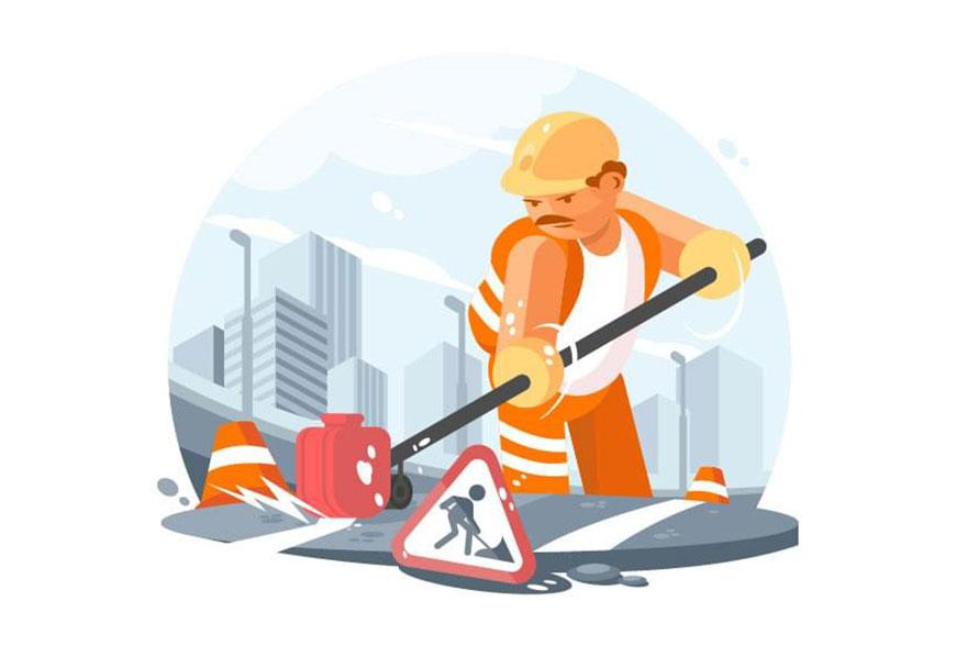 Illustrator绘制马路上正在施工的工人,PS教程,思缘教程网