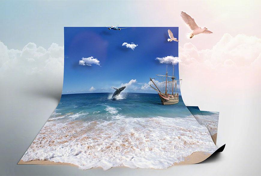 Photoshop制作3D折纸特效的海洋效果,PS教程,思缘教程网