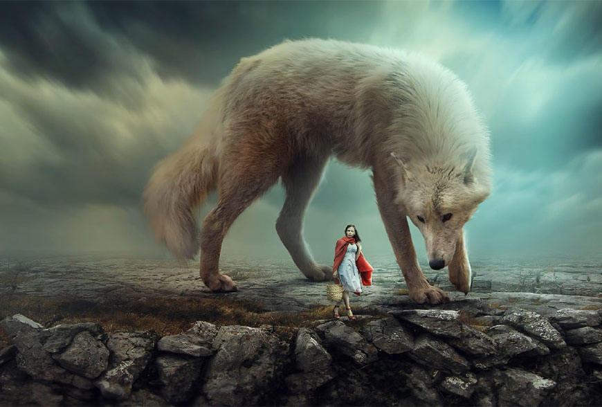 Photoshop合成创意的白狼和小红帽场景图,PS教程,思缘教程网