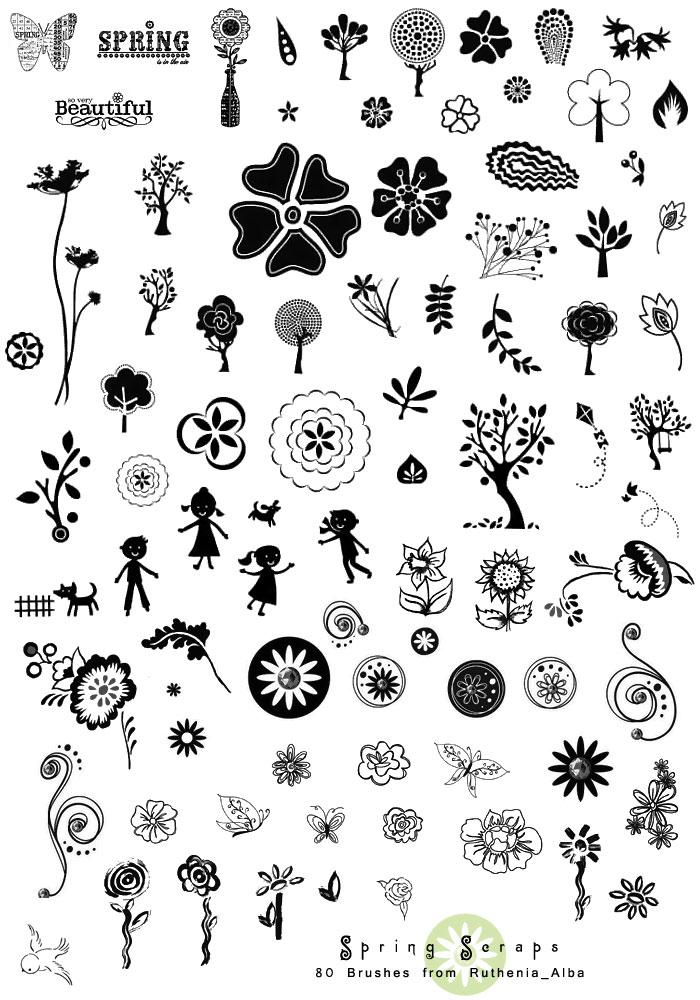 卡通手绘花朵和藤蔓ps笔刷