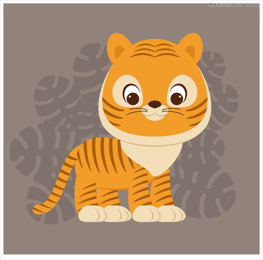 illustrator绘制卡通可爱的小老虎教程