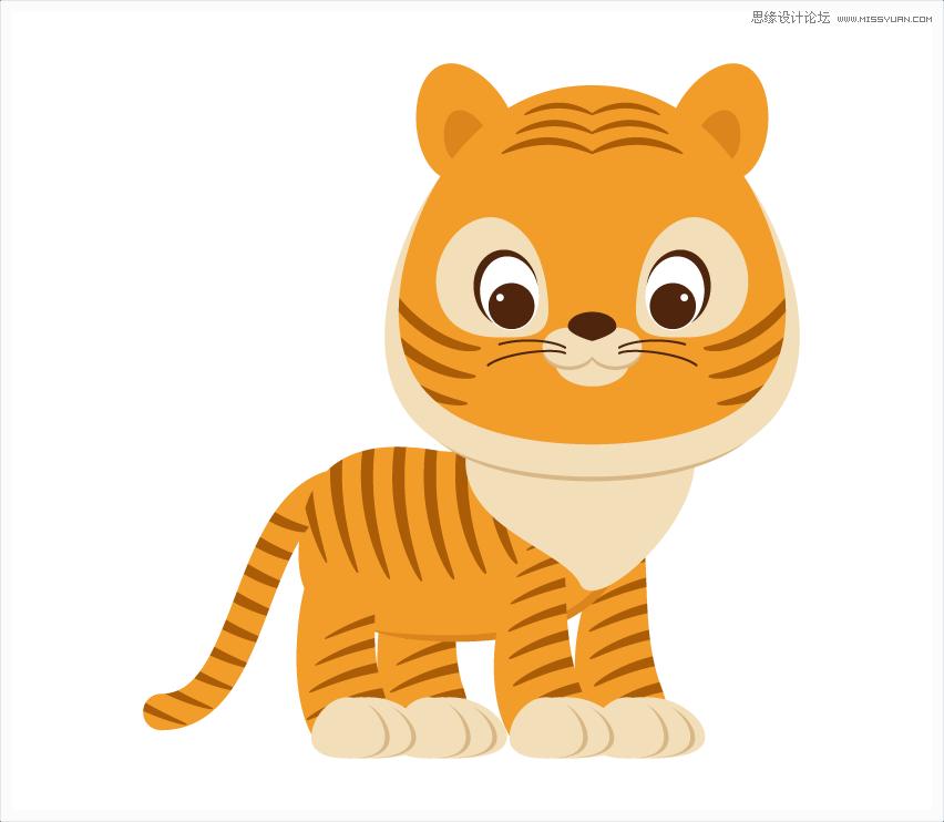 illustrator绘制可爱的小老虎图标插图