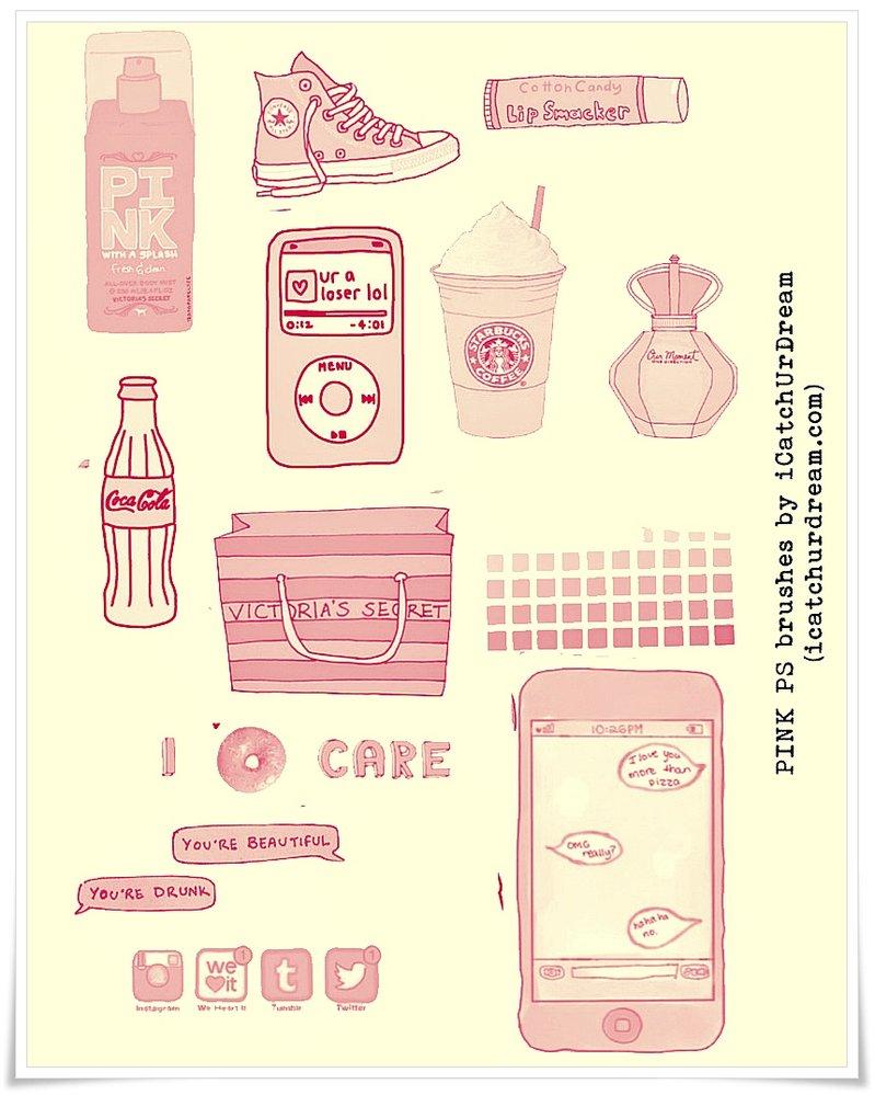 粉色饮料类包装盒PS笔刷