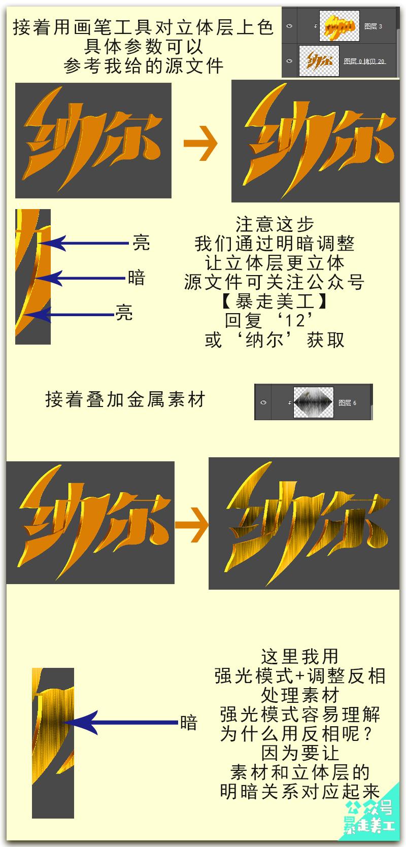 Photoshop製作金屬質感的黃金藝術字教程
