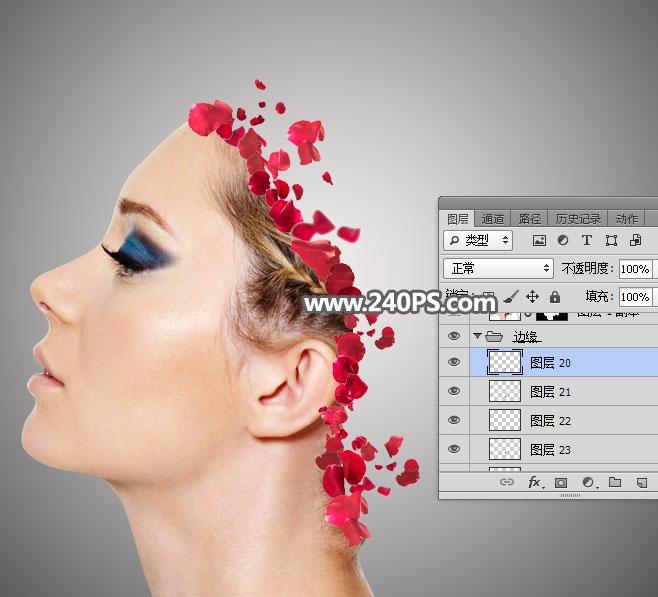 Photoshop合成人像被玫瑰花瓣打散特效