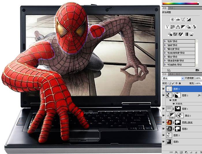Photoshop合成從筆記本爬出來的蜘蛛俠