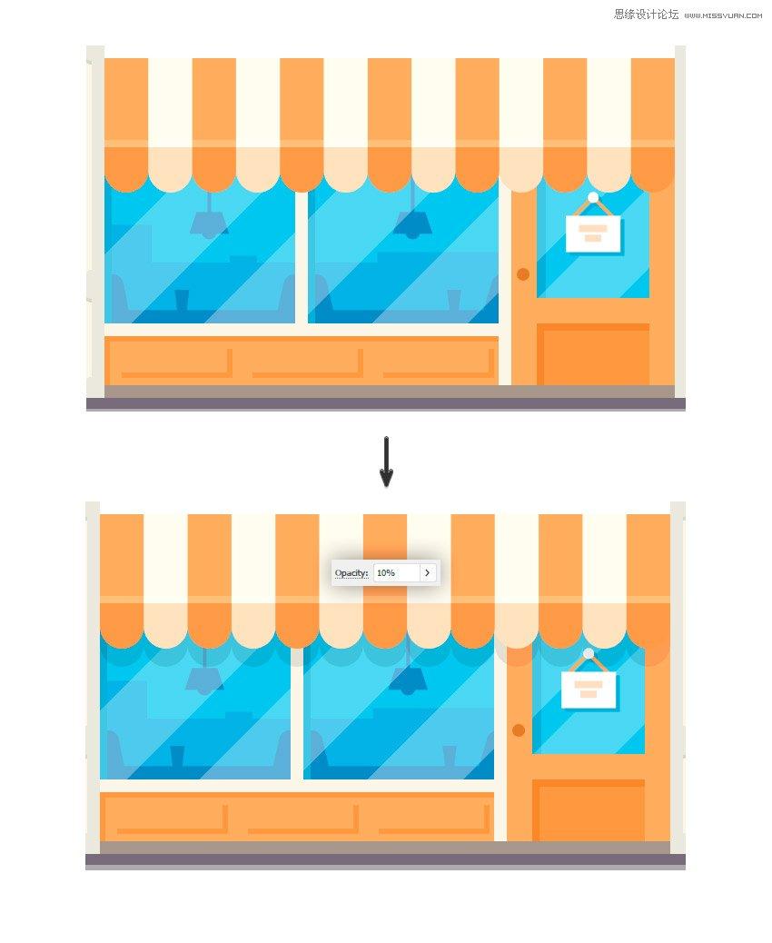 illustrator绘制扁平化风格的房屋和路灯效果(4)