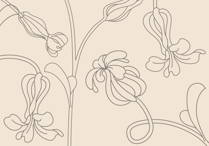 简约线描花朵PS笔刷