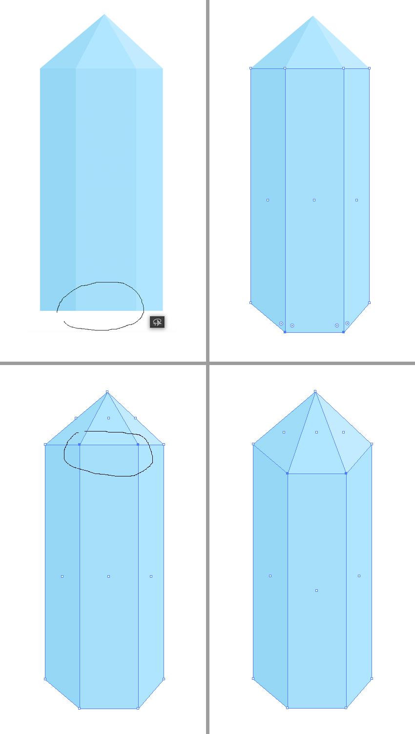3)画一条直线,然后改变中间那个东东。  4)给羽毛加些小细节。画两个矩形,旋转45°。然后剪切蒙版也好,shift+m(形状生成器工具)也好,做出我们想要的效果就好。然后加背景和投影。   step 5:画一个矿石。 1)画一个10*40px的蓝色矩形,然后复制两个,改变颜色。  2)将三个矩形复制,颜色也改下。缩短高度,然后选各种它们上面的点,水平居中对齐。  3)接下来我们就来打造出矿石的外形。主要用到套索工具。(主要就是框选出那些点,然后移动)