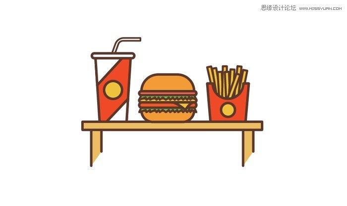 illustrator绘制简约风格的汉堡插画教程(3)