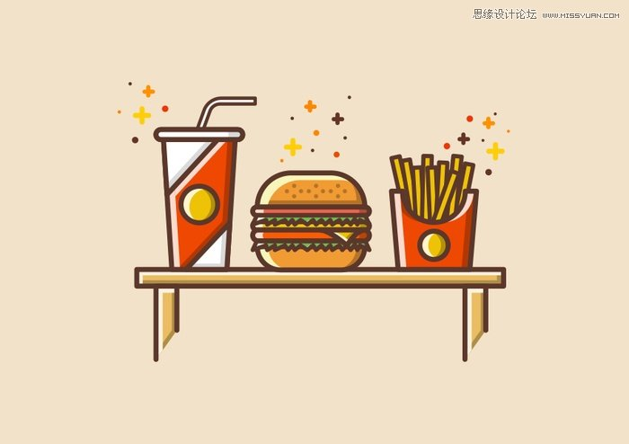 illustrator绘制简约风格的汉堡插画教程