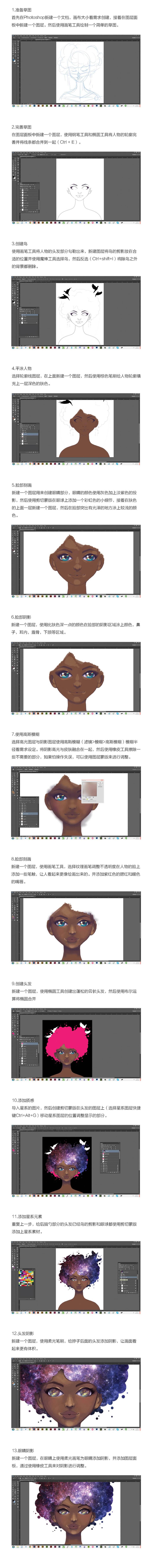 Photoshop繪製星空裝飾特效的少女插畫