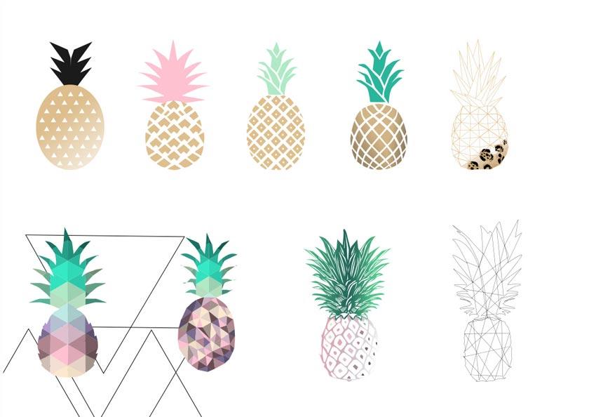 创意的菠萝形状PS笔刷