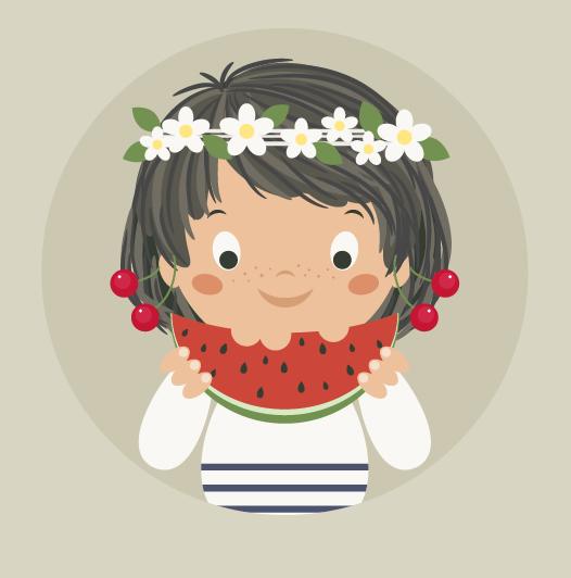 illustrator绘制可爱的吃瓜女孩插画教程(3)