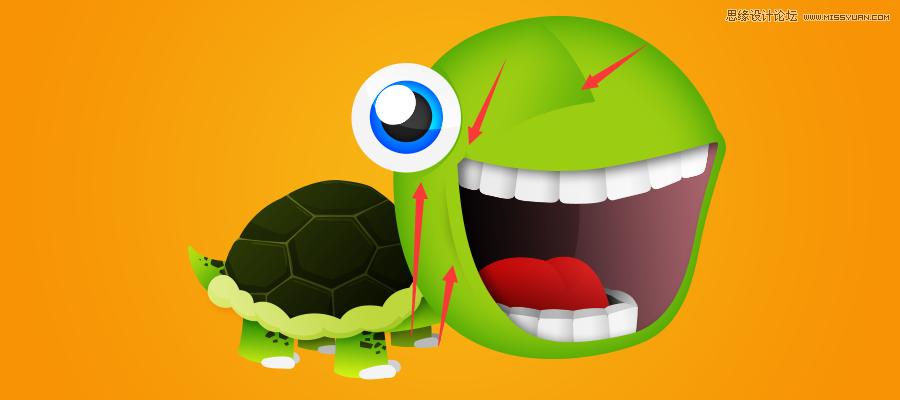 Photoshop快速的繪製卡通風格的大頭烏龜