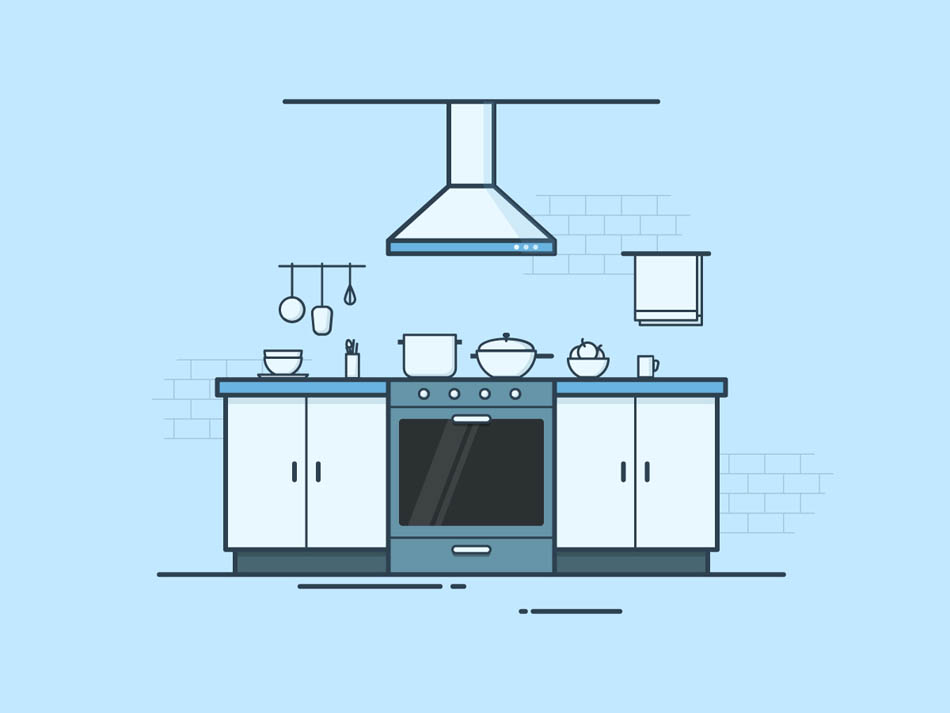 Illustrator绘制扁平化风格的厨房效果图,PS教程,思缘教程网