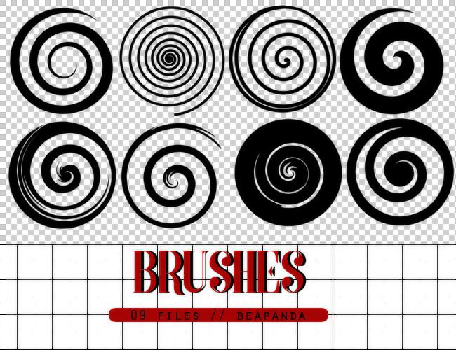 抽象的螺旋状图形PS笔刷