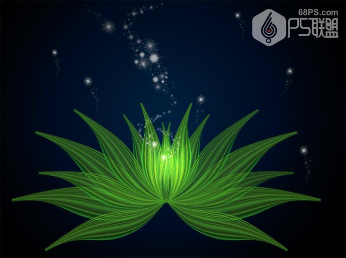 Photoshop繪製創意的綠色花朵效果圖