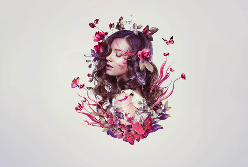 Photoshop合成时尚花朵装饰的美女头像效果,PS教程,思缘教程网