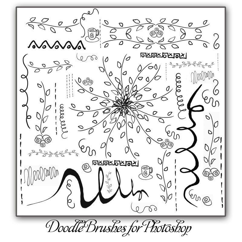 手绘花朵和藤叶装饰PS笔刷