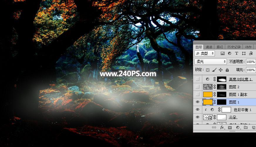 Photoshop合成森林中的天使美女唯美場景