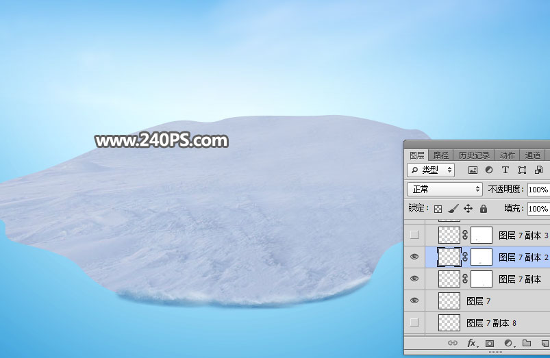 Photoshop創意合成冬季3D滑雪場景圖