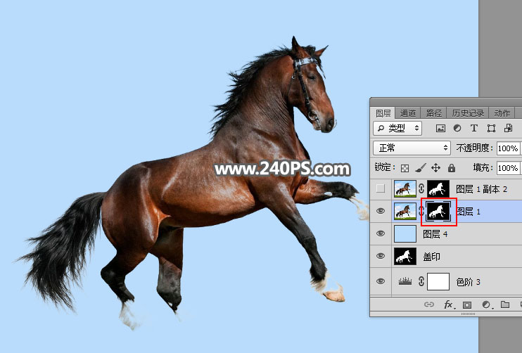 Photoshop使用通道工具抠出草地上的骏马