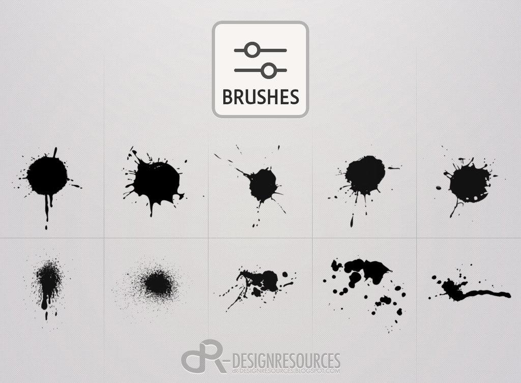 10款高清晰水墨喷溅效果PS笔刷