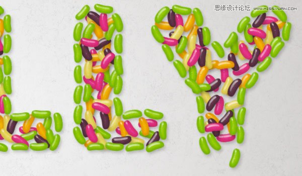 Photoshop製作由彩色豆子組成的創意藝術字