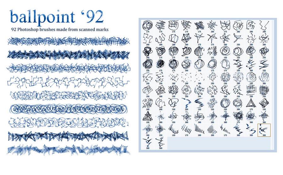92种涂鸦线条装饰PS笔刷