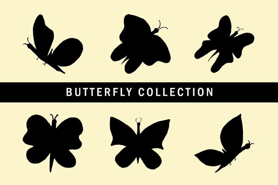 6款飞舞的蝴蝶剪影PS笔刷