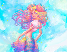Illustrator绘制唯美的水彩美人鱼插图