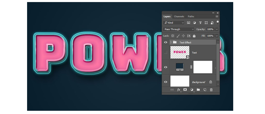 Photoshop製作復古風格的發光藝術字