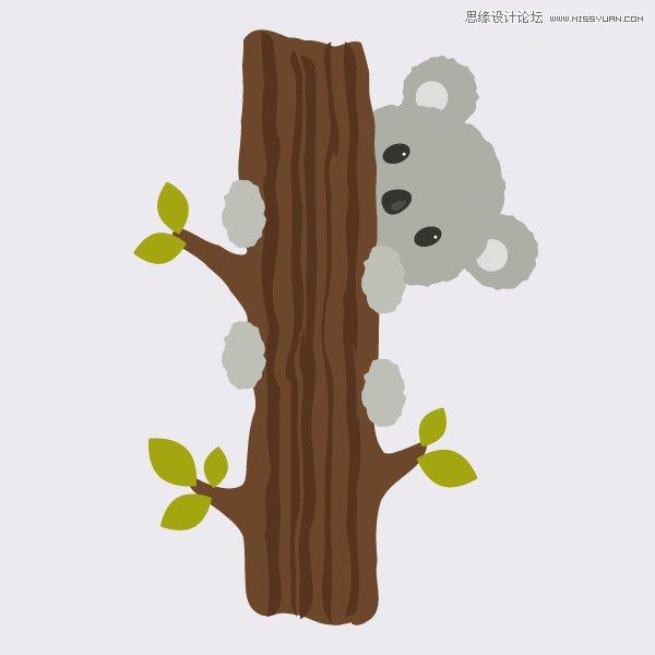 illustrator绘制爬上树的考拉插图教程 - 矢量教程