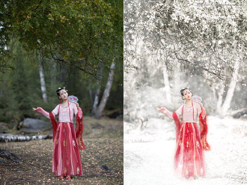 photoshop给冬季外景人像添加雪景特效