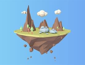 C4D制作几何图形组成的山峰场景教程