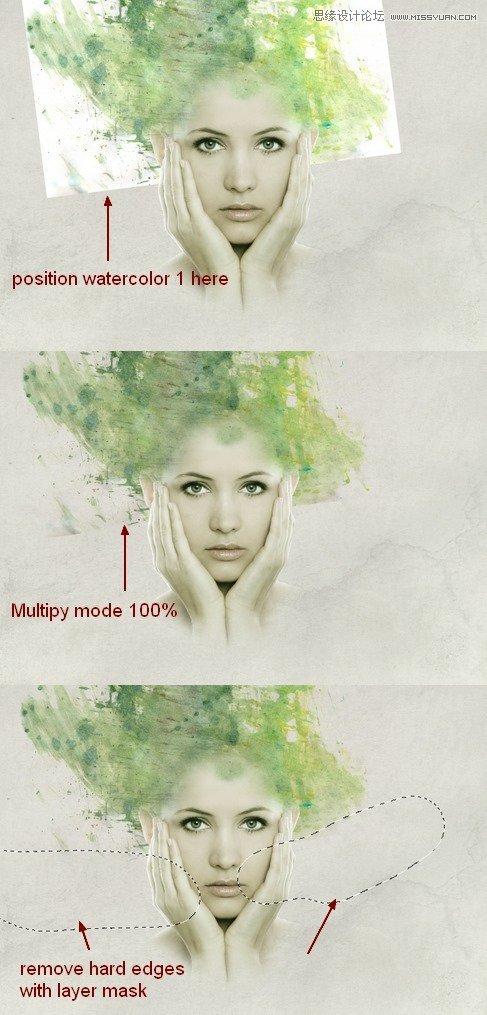 Photoshop合成水彩噴濺特效的人物插畫