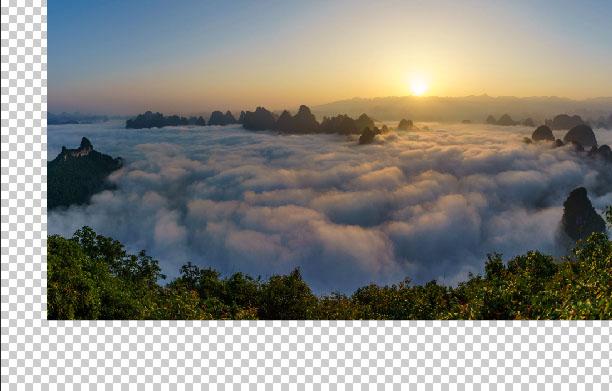Photoshop合成在悬崖上瞭望日出的女孩