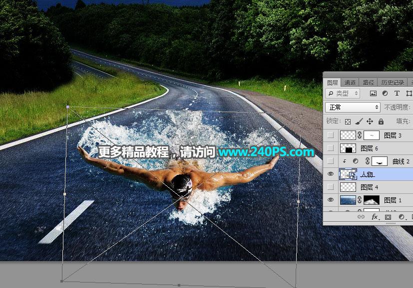 Photoshop創意合成在公路上游泳的運動員
