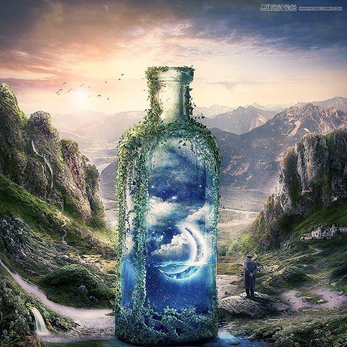 教程源文件和素材: 山谷中创意的瓶子合成ps教程素材 先看看效果图
